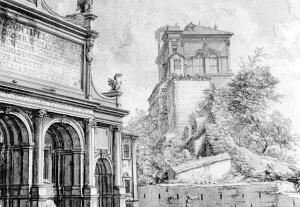 The Villa Aurelia (at right), home of the American Academy in Rome, as seen in an 18th century print by Giovanni Battista Piranesi