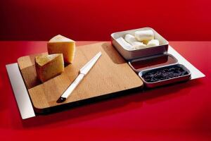 Architect Franco Sargiani and industrial designer Eija Helander designed the Alessi Programma 8 Cheese Server, available at Module R.
