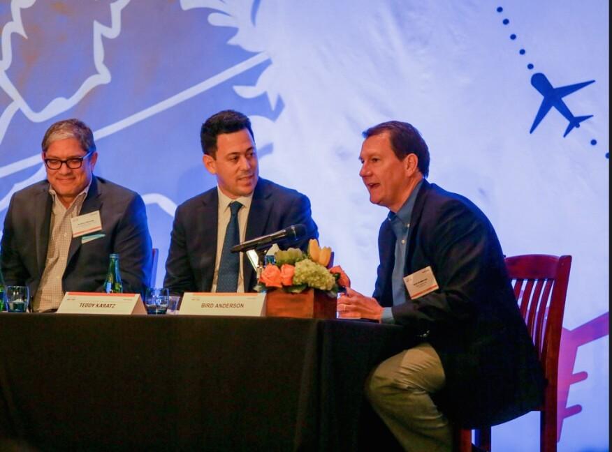 "Housing Leadership Summit Shark Tank ""Sharks:"" (from left) Rodney Montag, Theodore Karatz, and Bird Anderson"