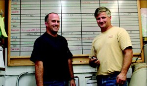Former production manager Kevin Tidwell (left) helped Howes (right) develop his scheduling system. Tidwell now owns a flooring company that works closely with MCB Construction