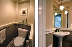 Out-Swinging Door Makes Small Powder Room Bigger