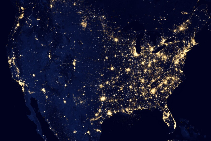 Composite image of the United States at night in 2012.