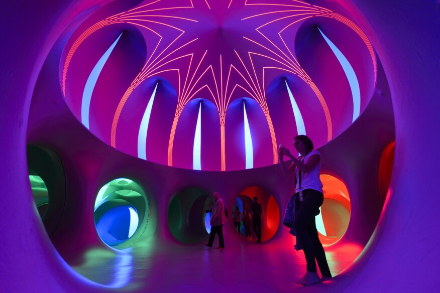 Visitors walk through the Luminarium, an inflatable sculpture realized by British artist Alan Parkinson. It was constructed for the Geneva Festival in Switzerland.The Luminarium will be open to the public until August 10, 2015.