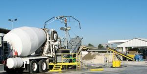 A Liebherr reclamation system and Alar water recycling unit process excess concrete and wastewater at Spragues' Ready Mix Concrete in Irwindale, Calif.