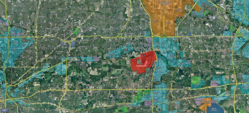 Red Marks the Spot Viridian, a new infill master plan, is the bull's-eye in a map of the Dallas-Fort Worth, Texas metro area.