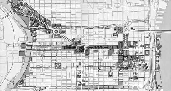 """The Site Plan,"" illustration from the Philadelphia City Planning Commission, 1963, ""The Plan for Center City Philadelphia."""