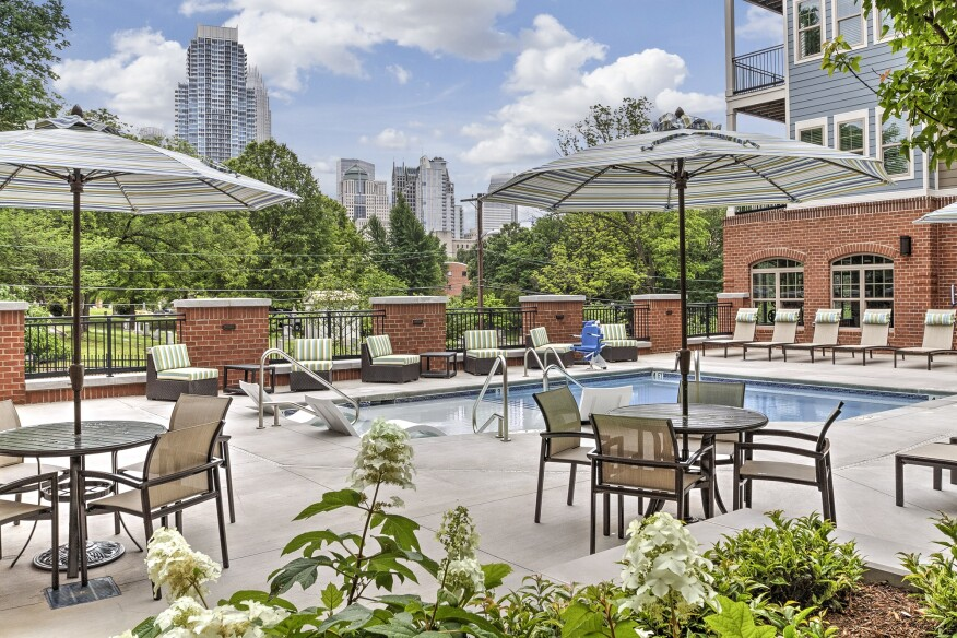 Taking advantage of Charlotte's warm climate, a swimming pool is among the development's many amenities.