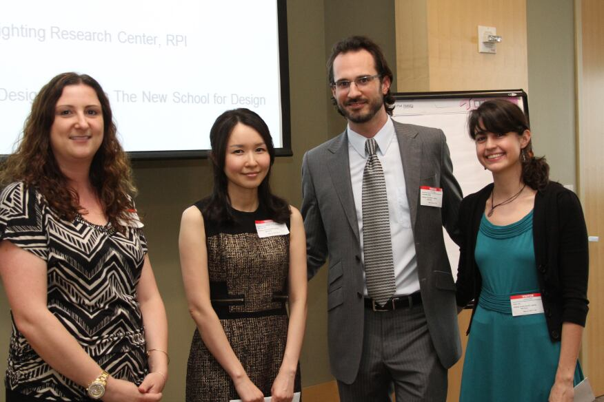 Left to right: Kelly Seeger, IESNYC Board Member; Jiyoung Bae, IESNYC Thesis Prize recipient; Brian Belluomini, vice president of the IESNYC; and Erin Ryan, IESNYC Thesis Prize recipient.