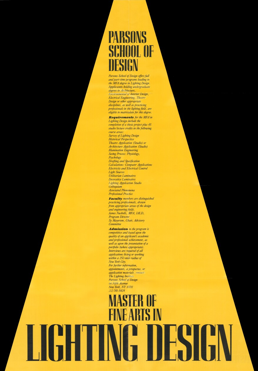 Original recruitment poster for the Master of Fine Arts in Lighting Design program at Parsons School of Design.