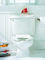 American Standard's Baby Devoro round-front toilet is 10 inches high and uses siphon flush action.