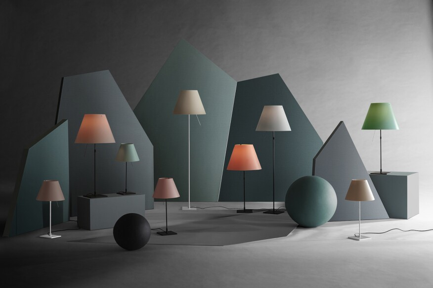 For the 30th Anniversary of Constanza, Luceplan has released the lamp in two new colorways. Show here is Mezzo Tono, the pastel range.