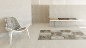 PLYNYL w2w covering  Chilewich  www.chilewich.com  Woven wall-to-wall floor and wall covering with polyurethane cushion    Six styles in total    Suitable for retail, residential, office, educational, and hospitality    72 inches wide    0.165 inches thick    Weighs 6.07 ounces per square foot    Water resistant    Direct glue-down installation