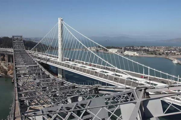 The old and new East Span of the Bay Bridge, looking west.