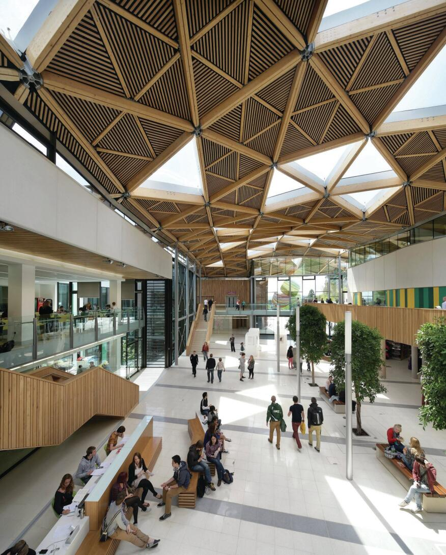 Natural light pours in through triangular 