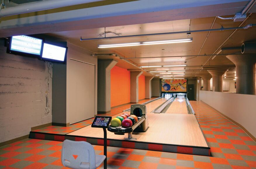 565 Quincy may be the only condominium in town with a bowling alley in the basement.