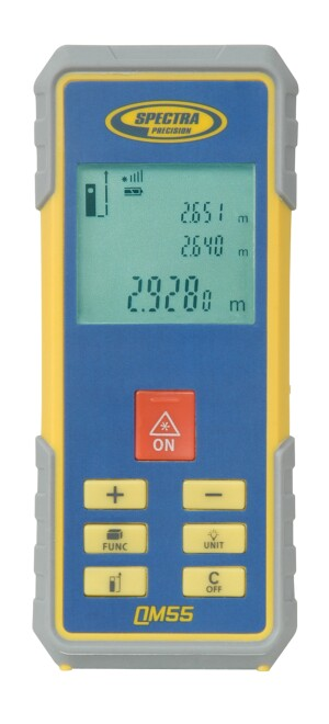 Trimble Navigation Spectra's QM 55 screen display includes a signal strength indicator as well as a battery indicator