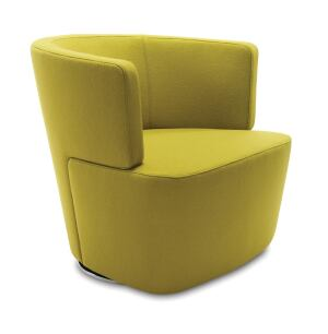 "A modern reinterpretation of the club chair, Joel, distributed by Coalesse, encourages sociability, dialogue, and decision-making in a variety of live-work settingsfor example, in a lobby or as a guest chair. Designed by Eoos for Walter Knoll, the chair features double-needle stitching along the back and two-piece construction. It has an integrated swivel return mechanism allowing users to pivot easily and then automatically return the chair to its original position. The base comes in a highly-polished, environmentally friendly trivalent chrome finish. Built to order in six weeks, it comes in a wide variety of fabric and leather options. The chair measures 29"" deep by 30-1/4"" wide by 27-1/2"" tall. coalesse.com"