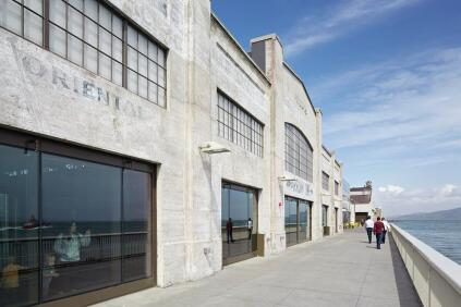 The architects preserved as much of the historic industrial signage as possible on the shed building along the Bay View Walk on Pier 15.