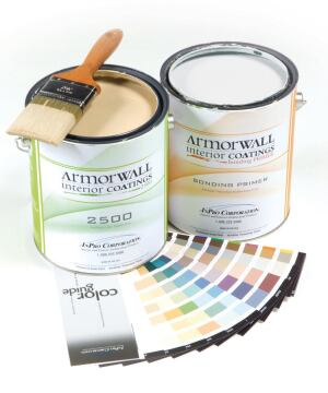 Armorwall  InPro Corp.  inprocorp.com  Highly durable water-based acrylic interior coating - Maintains brightness and sheen after more than 2,500 scrubs, as tested by ASTM-D2486 - Eggshell finish - Brush, roll, spray application - Low VOC - Available in 100 standard colors - One gallon covers 350 to 400 square feet