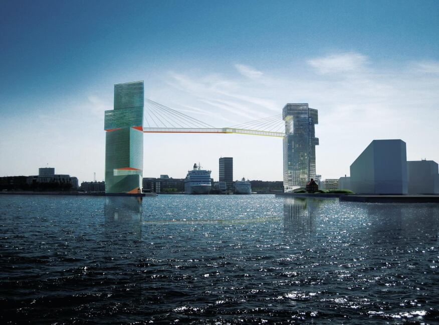 The Langelinie and Marmormolen towers form the LM Harbor Gateway, which serves as the new entry point to Copenhagen Harbor. The office towers are connected by a cable-stay bridge suspended 213 feet above the water's surface.