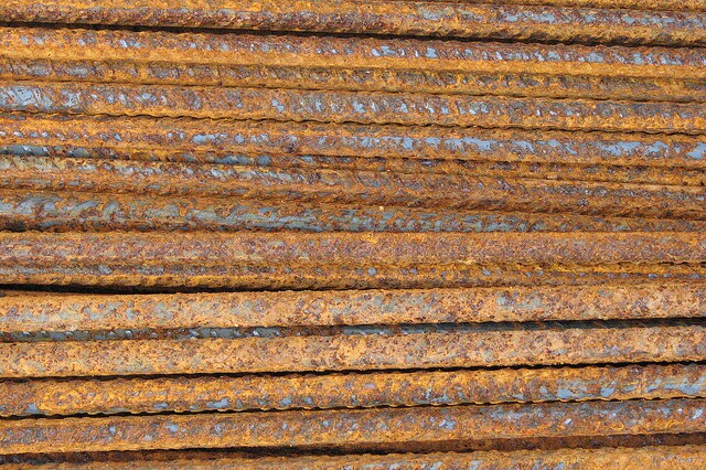 Conventional steel rebar rusts when exposed to the elements.