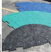 Butterfield Color's Mayan Cobblestone circular pattern is accomplished with a tool for each radius position.