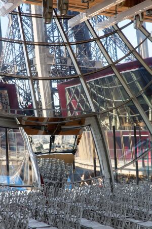 The double-height Pavillon Eiffel can be rented as event space and features bespoke Eiffel Tower chairs.