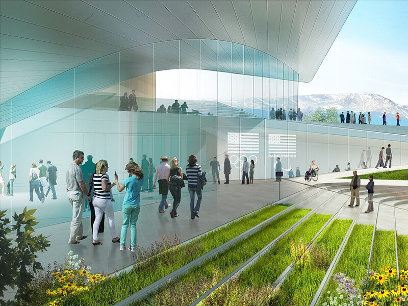 Preliminary Design Concept for the United States Olympic Museum: Plaza View.