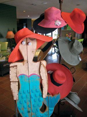 A unique wooden mermaid