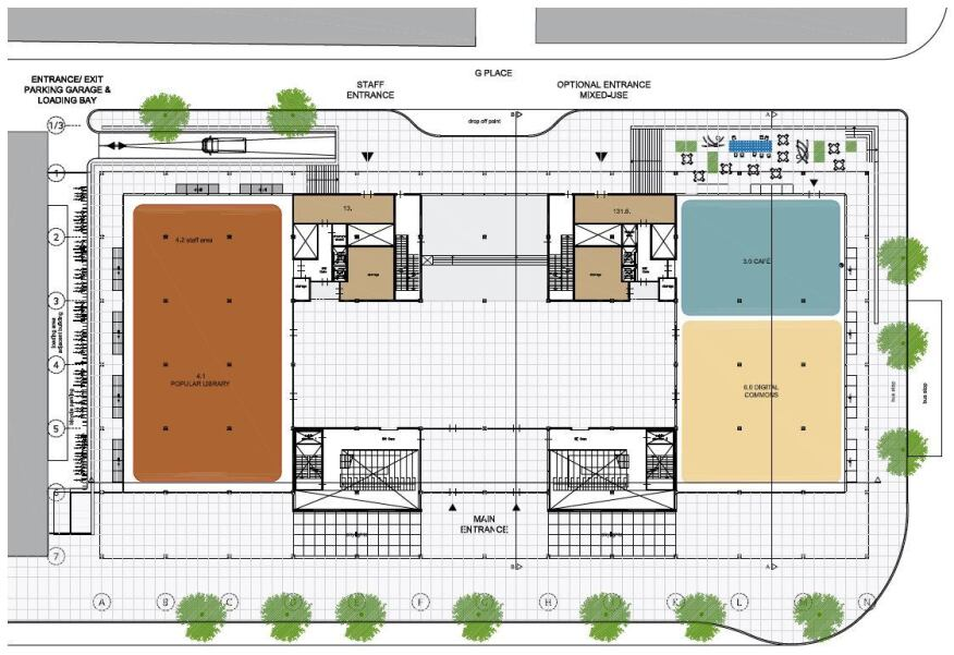 Proposed floorplan for the library's ground level.