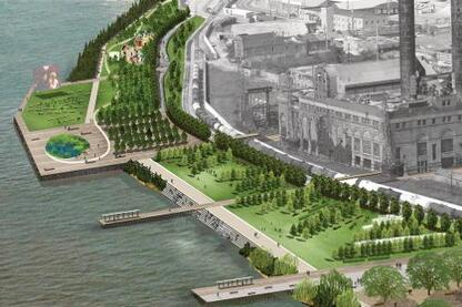 Eskew+Dumez+Ripple's development plan for the New Orleans riverfront, dsigned in collaboration with Hargreaves Associates, Chan Krieger Sieniewicz, and TEN Arquitectos, envisions the design of a sequence of public spaces.
