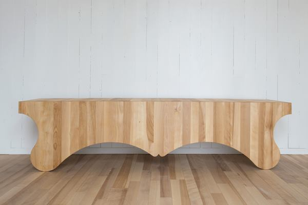 Wood planks make up the Puppy bench from Nick Herder, a designer based on Fogo Island.