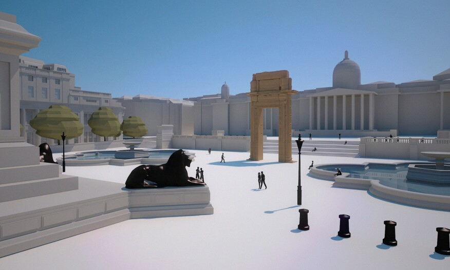A rendering of how the 3D-printed arch will be installed in London's Trafalgar Square.