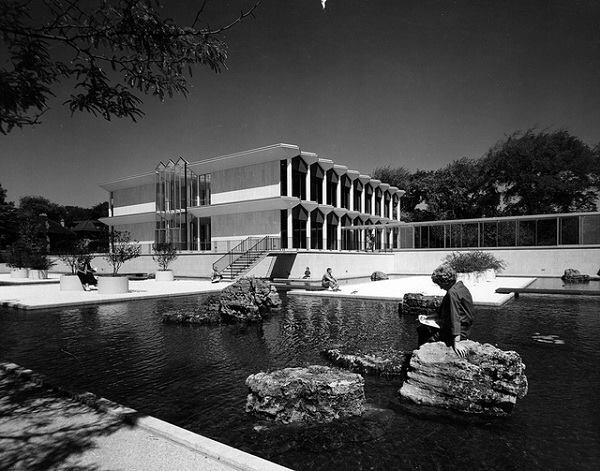 Students linger around the Minoru Yamasaki–designed McGregor Memorial Conference Center and its reflecting pools, as pictured in the 1960s.