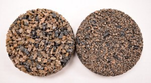 Porous Pave XL, 50-50 aggregate-rubber mix, with traditional larger rubber chips on the left and the new fine-cut chips on the right.