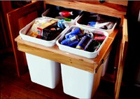 This 33-inch wide four-unit center from KraftMaid provides plenty of recycling options.