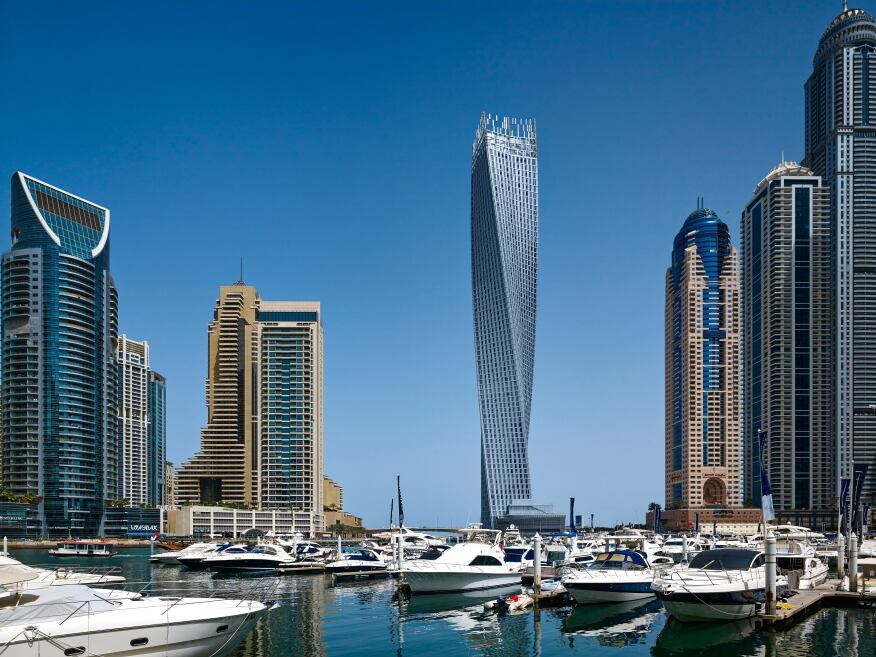 The newly completed Cayan Tower as seen from the Dubai Marina.