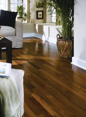 "BR-111s Tiete Chestnut is imported from Brazil and is twice as durable and easier to source than its domestic counterpart. The 5/16"" exotic engineered flooring is less than half the cost of solid chestnut flooring of the same width, according to the company. The eco-friendly harvested flooring can be installed using a glue-down or floating procedure and a complete line of moldings is available. Tiete Chestnut is also offered in 3"" and 6-1/4"" widths and 3/8"" and 1/2"" thicknesses. br111.com"