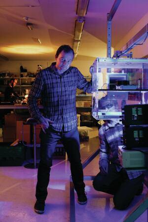 Jake Dyson working in the studio's workshop.