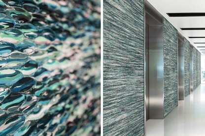 design intel bermanglass levels kiln cast glass creative plays of texture color and light for walls elevator interiors and more read more - Architectural Wall Design