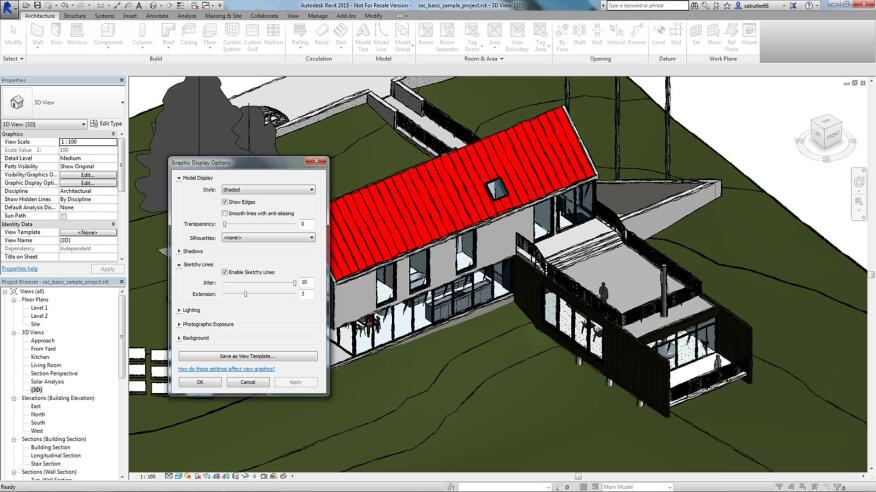 Autodesk Revit 2015 has a sketchy lines feature to give building models a handcrafted feel.