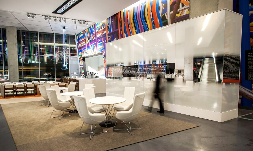 The renovated lobby, with local artist Matt Kotlarczyk's chandelier