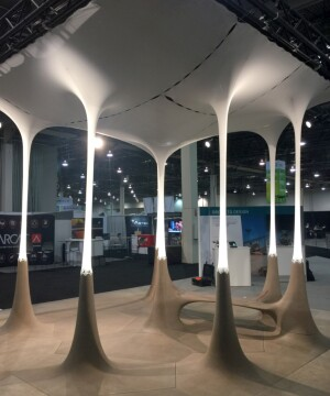 The Generative Design pavilion, one of the highlights of the convention floor, was created through a collaboration between Quarra Stone Co., Autodesk principal research engineer Andy Payne, Simpson Gumpertz & Heger associate principal Paul Kassabian, and University of Michigan assistant professor Sean Ahlquist.