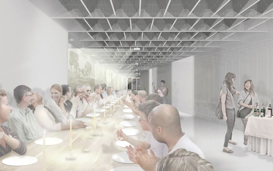 The flexible redesigned space will be able to host various events; projects hidden in the coffered ceiling will display movies and other visuals.