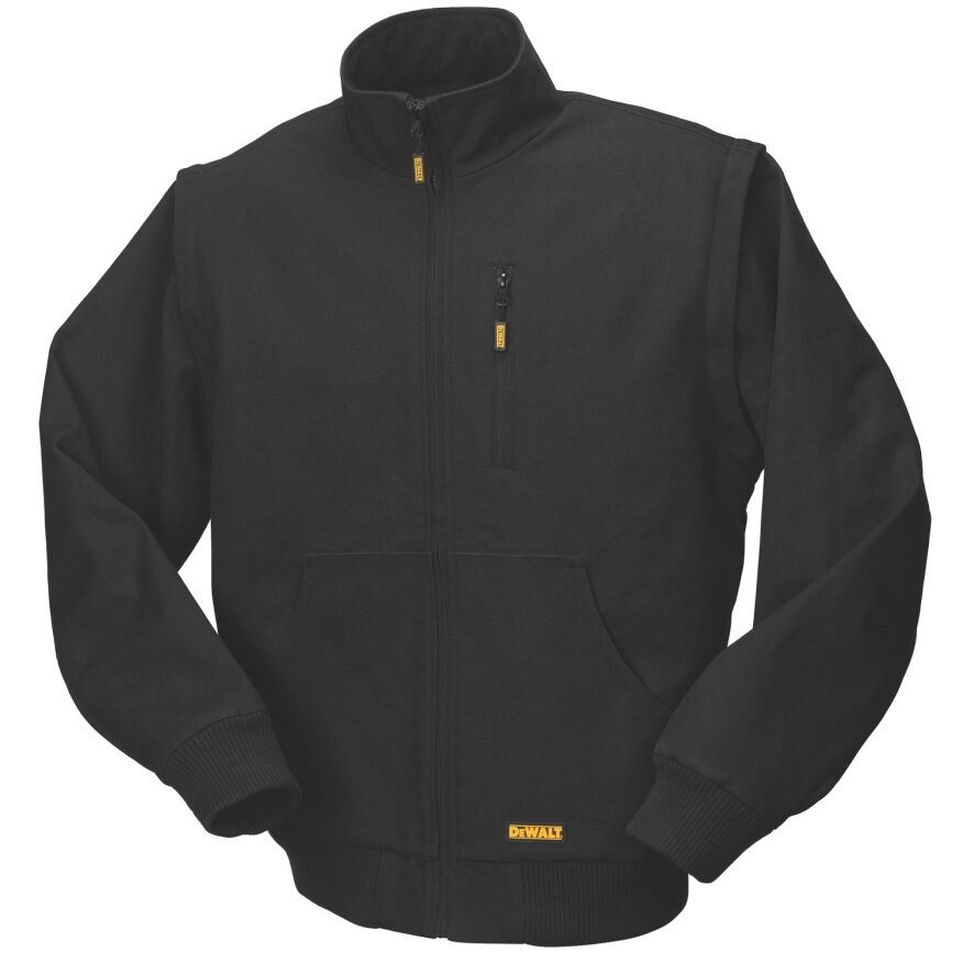 DeWalt's Black Heated Jacket with Removable Sleeves (DCHJ065) offers versatility that will accommodate varying working conditions and weather