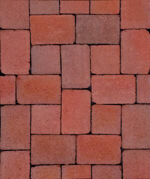 """CityCobble pavers from Pine Hall Brick were made to look like genuine cobblestone bricks. The natural clay pavers come in two sizes—5-1/3"""" square and 5-1/3"""" x 8"""" rectangle—with a 'rumbled' treatment that gives them their authentic appeal. CityCobble comes in a tannish-red Siesta and a dark brown Mahogany.  pinehallbrick.com"""