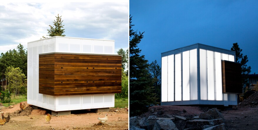 As part of the Black Hills Homestead, a modernist, translucent cube, serving as a chicken coop, is elevated off the ground to protect its occupants from wildlife and to promote airflow.