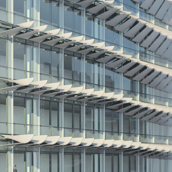 Seattle-based NBBJ developed a responsive shading system whose cantilevered, curvilinear panels block sunlight and solar radiation while maintaining views.