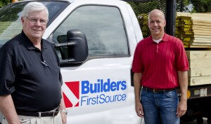 Sales are increasing alongside concerns about truck-driver availability and installed-sales staffing, Builders FirstSource senior vice president of operations Morris Tolly (left) and senior vice president and chief financial officer Chad Crow told ProSales at the Dallas-based supplier's Point of Rocks, Md., facility earlier this month.