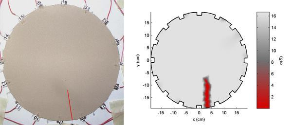 The sensing skin is applied to a polymeric substrate with the crack highlighted in red, left, and a reconstructed image of its electrical conductivity, right.